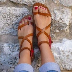 Shoes - Womens gladiator brown flats summer sandals